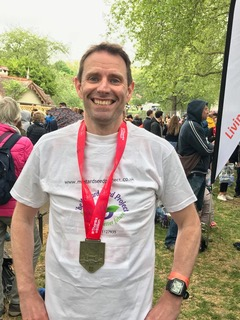 nigel Swepson ran thel London marathon for MSP